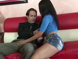 Hottie with long dark hair Vicky Chase is made to ride strong sloppy cock