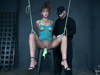 Cute teen Scarlett Mae endures her torture tied up completely
