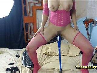 Horny brunette  fucking her nasty pussy in missionary