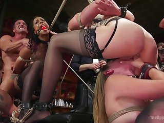 Some wild bondage orgy with lots of mouthfuck and fingerfuck