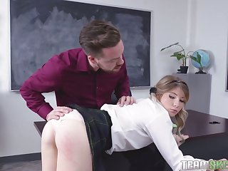 This frisky hot coed wants her teacher's cock and she can hold out any longer