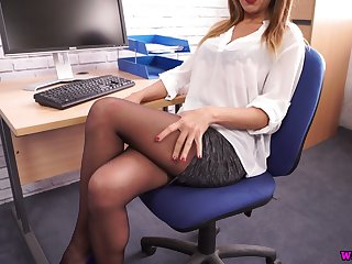 Killing hot secretary Mia shows off big juicy boobs and nice ass in pantyhose