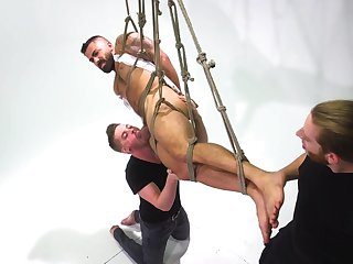 Gay bondage with male slave taking all the power