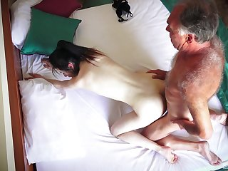 Hotel room spy cam records amateur couple having amazing sex
