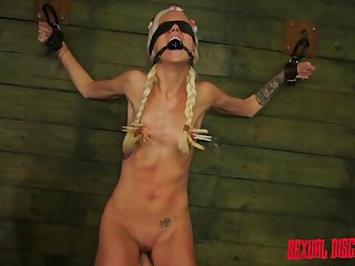 Skinny petite girl Halle Von with pigtails tied up and fucked