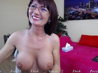 Brunette Mature mom in eyeglasses teasing solo on webcam