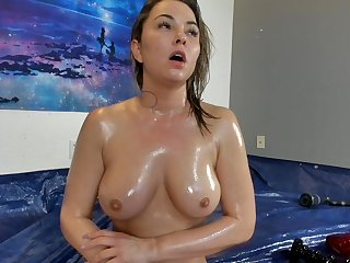 tiffany wet body - oiled up babe with natural tits solo on webcam