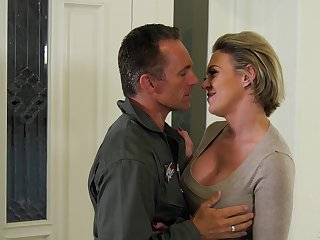 Jet pilot Marcus London fucks mouth and pussy of hot wife Dee Williams