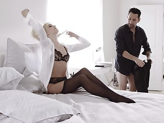 Blonde darling Kenna James in stockings and lingerie fucked good