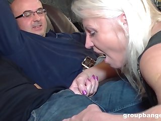 Mature blonde wife fucked by her husband and his best friend