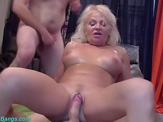 Busty 67 years old mom group banged