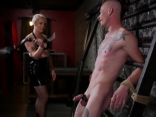 Dominant Helena Locke enjoys riding a stiff dick of her slave