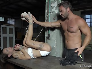 Tied up darling Adelle Unicorn fucked by a dominant gentleman