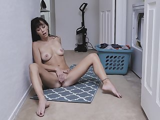 Skinny mom enjoys a bit of private moment by masturbating