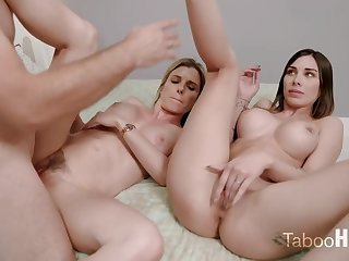 Crazy mom and her sluty step- daughter-in-law had a 3some with 1 of the fresh neighbors