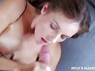 Super alluring and curvy MILF Mandy Flores just loves taking cock into slit