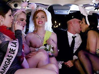 Naked babes are getting naughty in the back of the limo