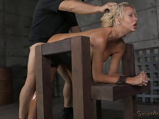 Fake boobs blonde slut Courtney Taylor gets tied up and fucked
