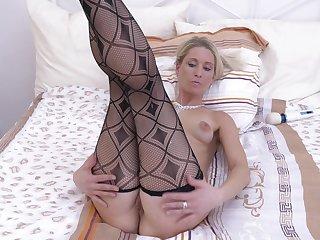 Desirable cougar Uma Zex takes off red panties to masturbate