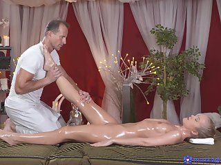 Insolent beauty receives much more than a simple massage