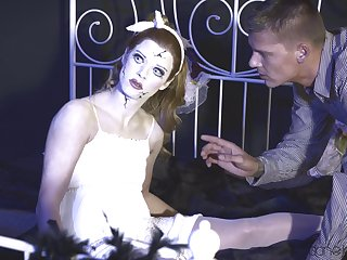 Kinky babe dressed up as a doll fucked by a large white cock