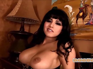 Exotic brunette babe stripping from her black dress and fingering pussy