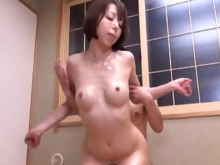 Hot ass Japanese girl enjoys getting pleasured by a fat dick