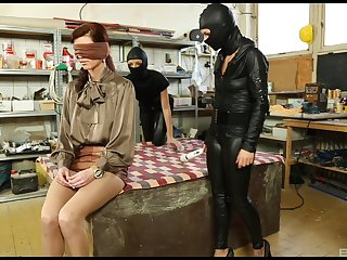 Masked sluts use babe's submissive pussy for intriguing XXX