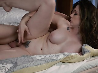 Busty female is pleased to feel such force hammering her cunt